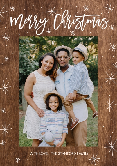 Christmas Photo Cards 5x7 Cards, Premium Cardstock 120lb with Scalloped Corners, Card & Stationery -Christmas Stars Rustic by Tumbalina