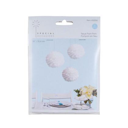 Decorative Tissue Paper Pom Pom Flower Ball, White, 10