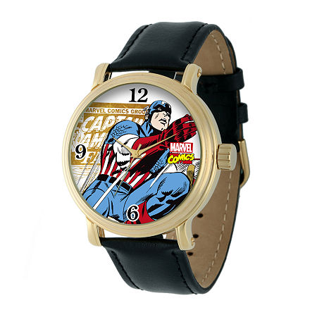 Marvel Vintage Captain America Mens Black Leather Strap Watch, One Size , No Color Family