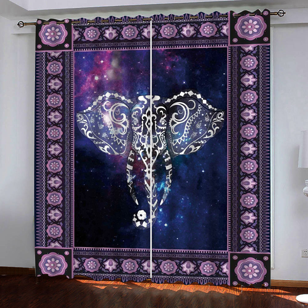 3D Purple Decorative Blackout Curtain Drapes with Galaxy and Bohemian Pattern No Pilling No Fading No off-lining