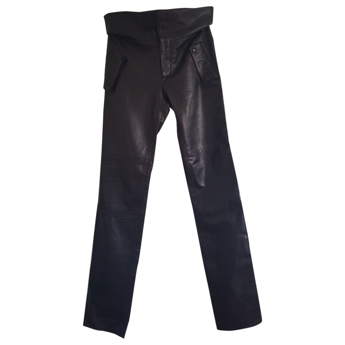 Versace \N Brown Leather Trousers for Women 40 IT