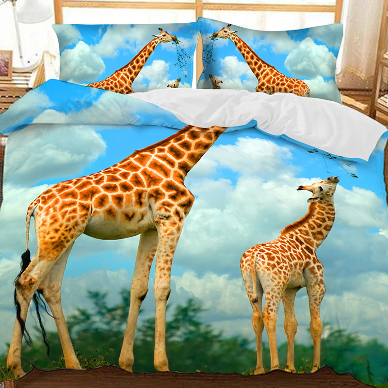 Giraffe Mother And Calf Under The Blue Sky Printed Polyester 3-Piece Bedding Sets/Duvet Covers