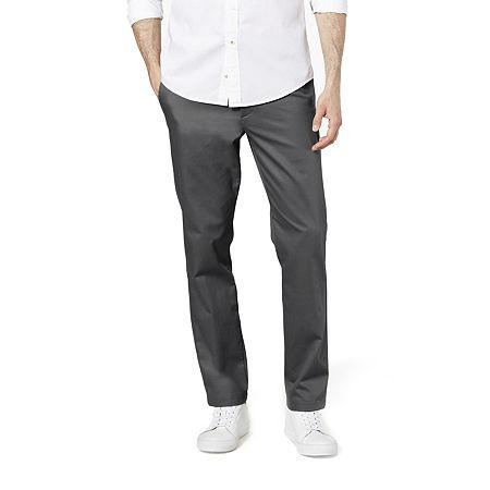 Dockers Men's Slim Fit Signature Khaki Lux Cotton Stretch Pants D1, 32 32, Gray