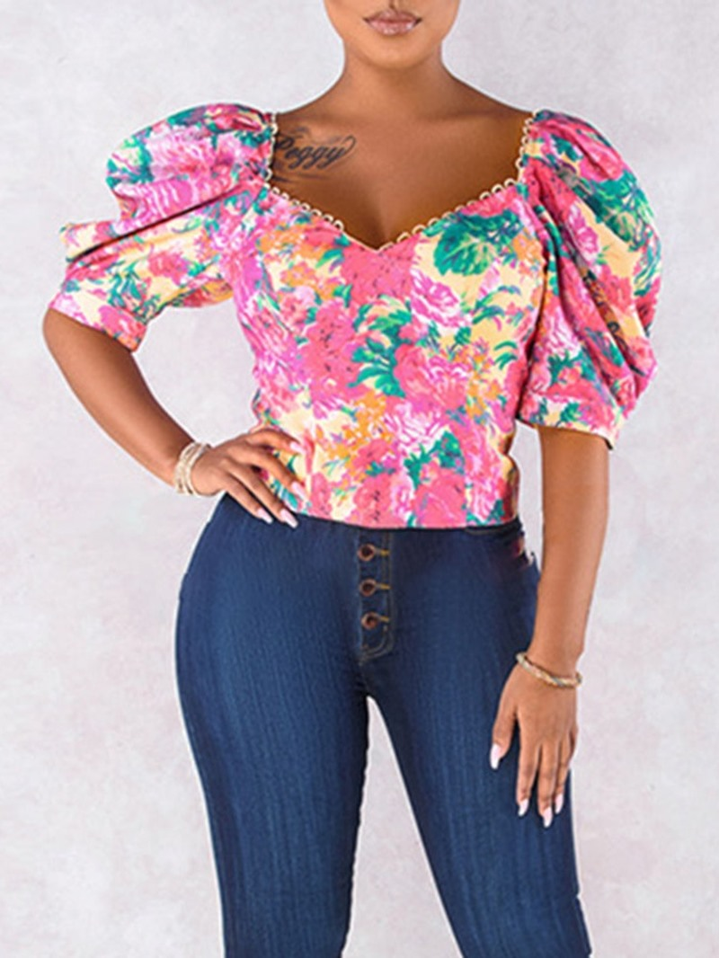 Ericdress Print Standard Short Sleeve Women's Blouse
