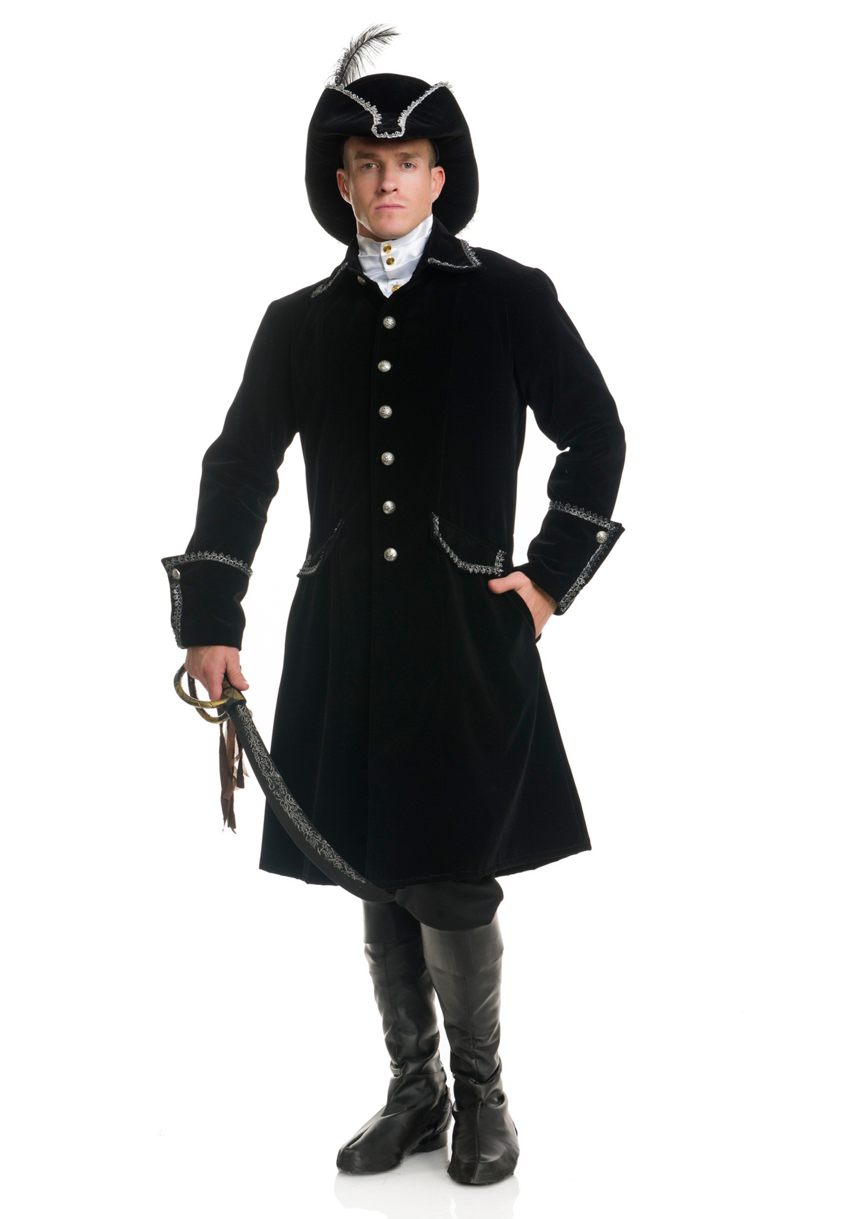 Men's Deluxe Black Pirate Jacket with Pockets Costume