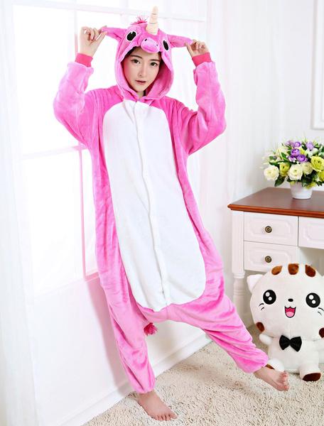 Milanoo Kigurumi Pajamas Unicorn Onesie Rose Flannel Animal Winter Sleepwear For Adult Unisex Back With Zipper Costume Halloween