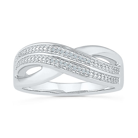 Womens Diamond Accent Genuine White Diamond Sterling Silver Crossover Cocktail Ring, 6 1/2 , No Color Family