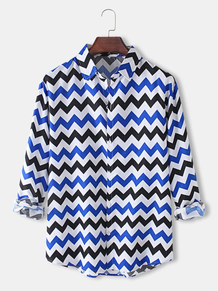 Mens Allover Chevron Print Designer Lapel Fit Curved Long Sleeve Shirts