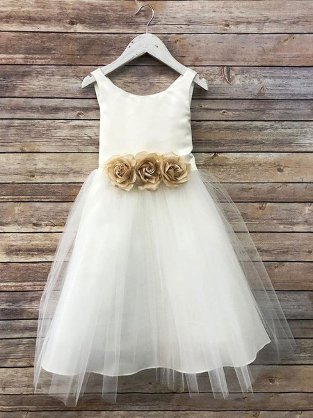 Milanoo Flower Girl Dresses Satin Jewel Neck Sleeveless Flowers Ankle Length Sash Kids Party Dresses