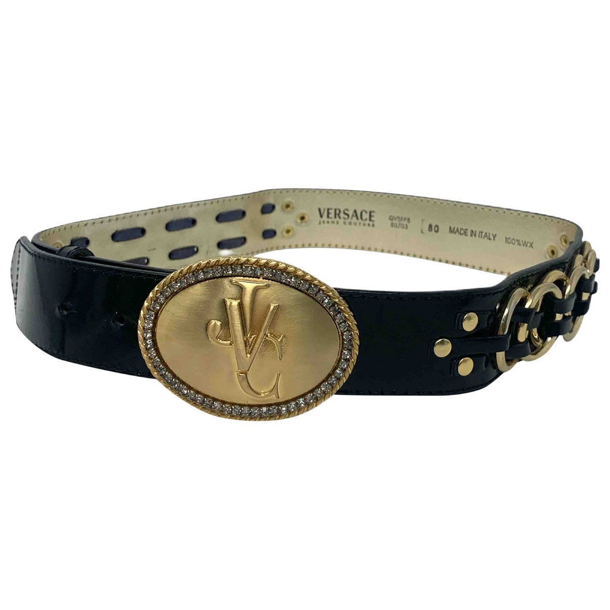 Versace Jeans \N Black Leather belt for Women 80 cm
