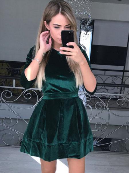 Milanoo Pink Skater Dress Women Short Dress Velvet Round Neck 3/4 Length Sleeve Slim Fit Flare Dress