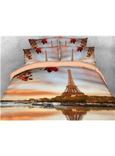 Eiffel Tower and River Natural Scenery Printed 4-Piece 3D Bedding Sets/Duvet Covers Ultra-soft Microfiber No-fading Twin Full Queen King