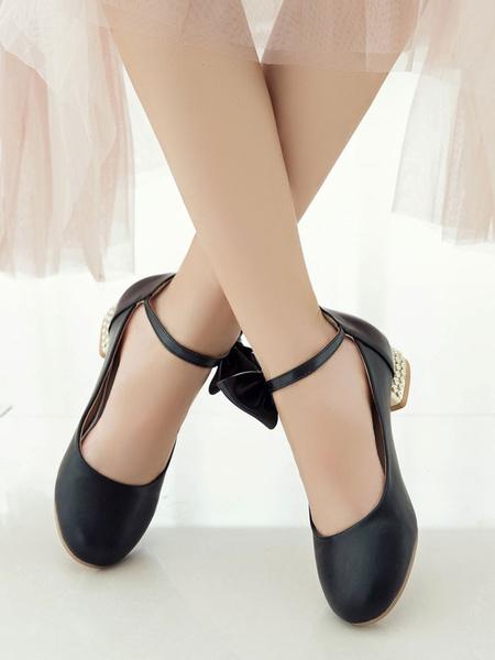 Milanoo Classic Lolita Shoes Bow Pearl Ankle Strap Metallic Puppy Heel White Lolita Pump
