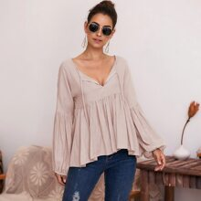 Solid Tie Front Babydoll Blouse
