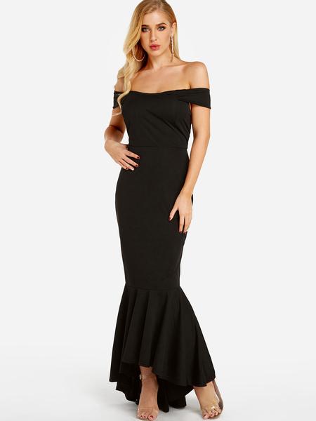 Yoins Black Sexy Off The Shoulder Fishtail Hem Maxi Dress
