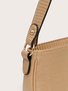 Lizard Embossed Baguette Bag