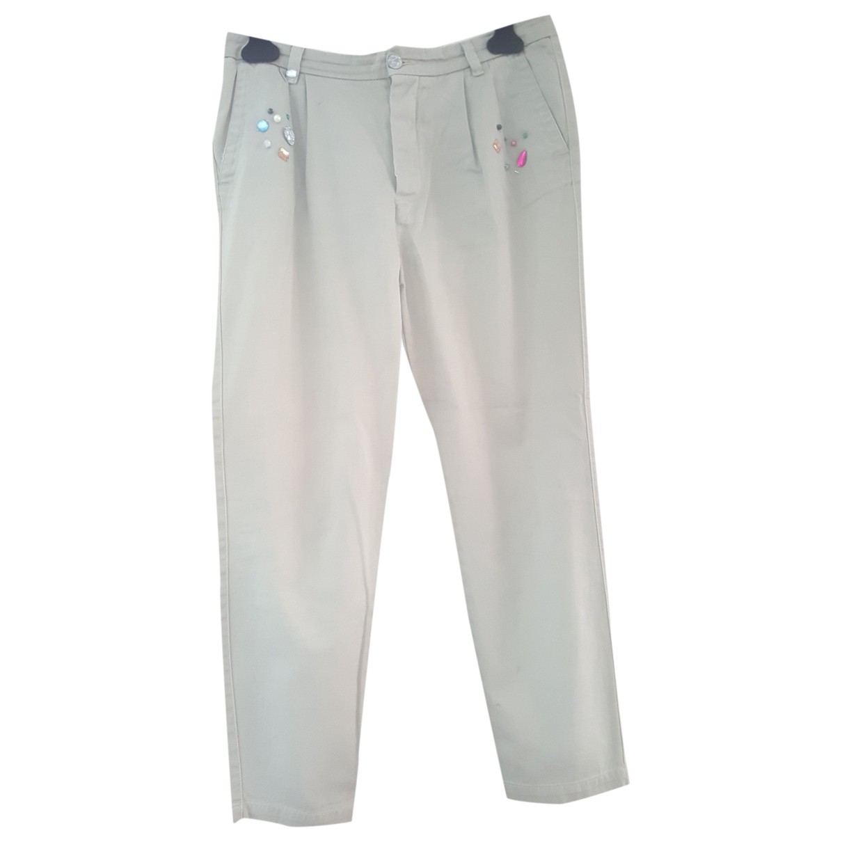 History Repeats \N Beige Cotton Trousers for Women 42 IT
