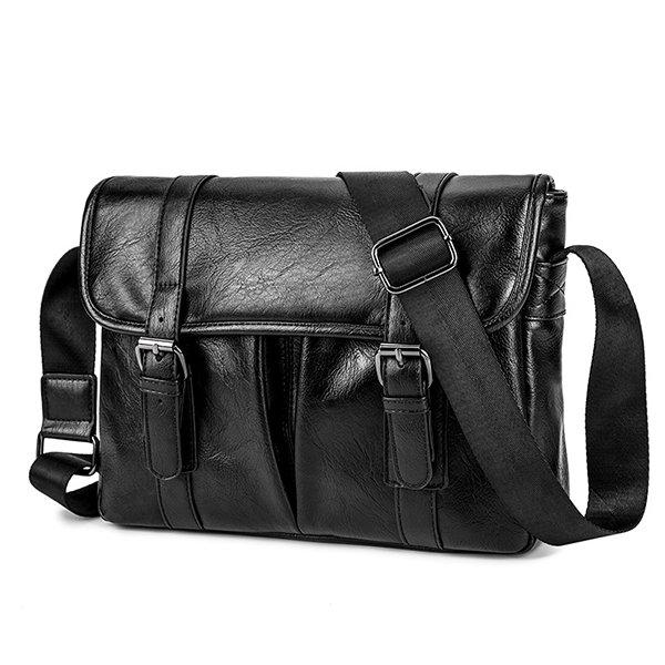 Men Faux Leather Black Business Bag Shoulder Bag Briefcase