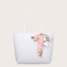 Twilly Scarf Decor Quilted Tote Bag