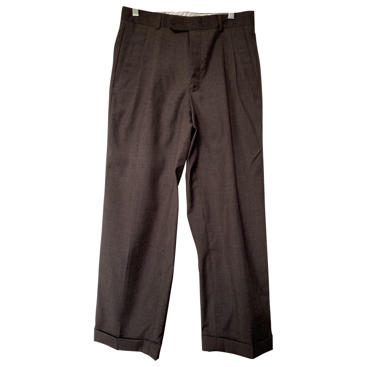Non Signé / Unsigned \N Brown Wool Trousers for Women 38 FR