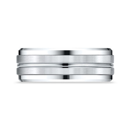 Mens 10K White Gold 8mm Band, 13 1/2 , No Color Family