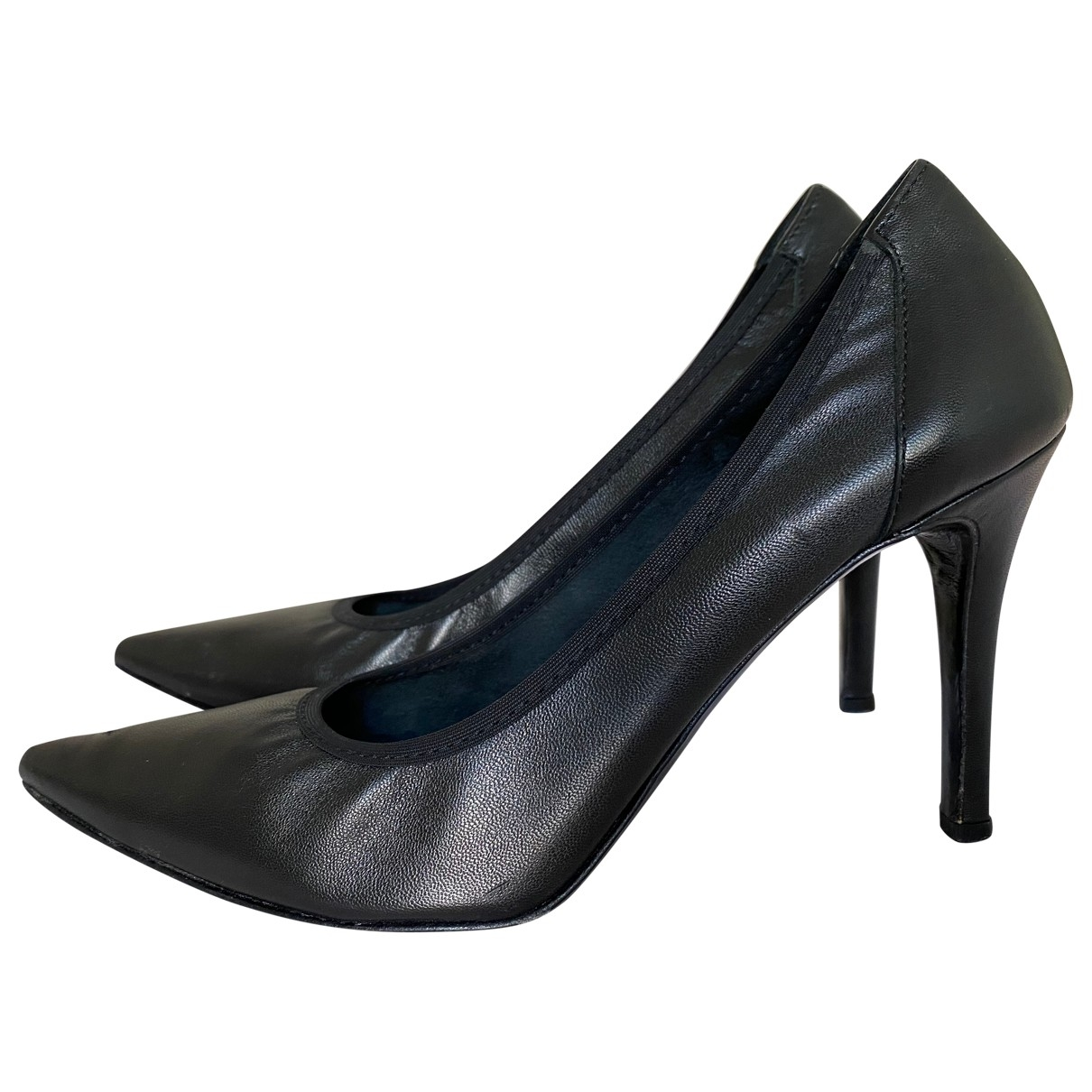 Non Sign?? / Unsigned \N Black Leather Heels for Women 37.5 IT