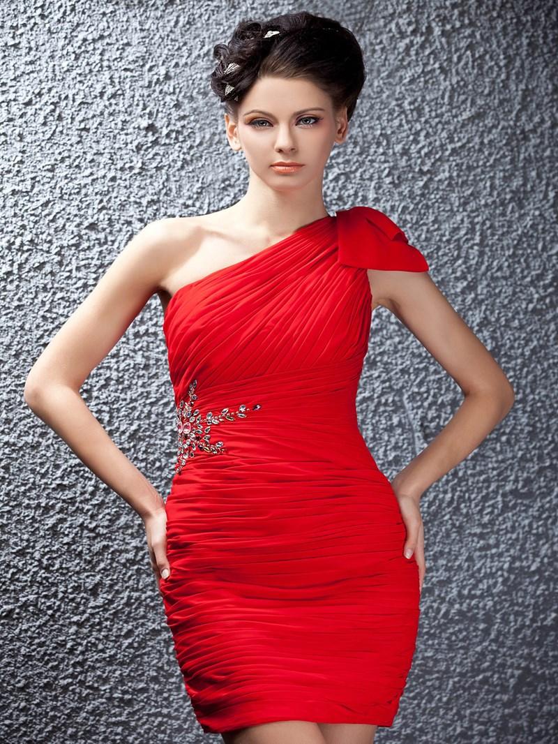 Ericdress One-Shoulder Ruched Short Cocktail Dress