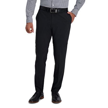Haggar Active Series Uptown Slim Fit Flat Front Men's Pant, 32 30, Black