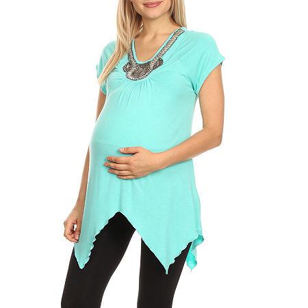 Maternity 'Myla' Embellished Tunic, Small , Green