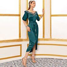 Embroidery Shawl Collar Dip Hem Self Belted Satin Dress