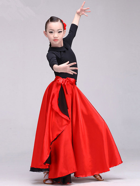 Milanoo Kids Flamenco Dance Dress Paso Doble Costumes Red Long Spanish Skirt Halloween