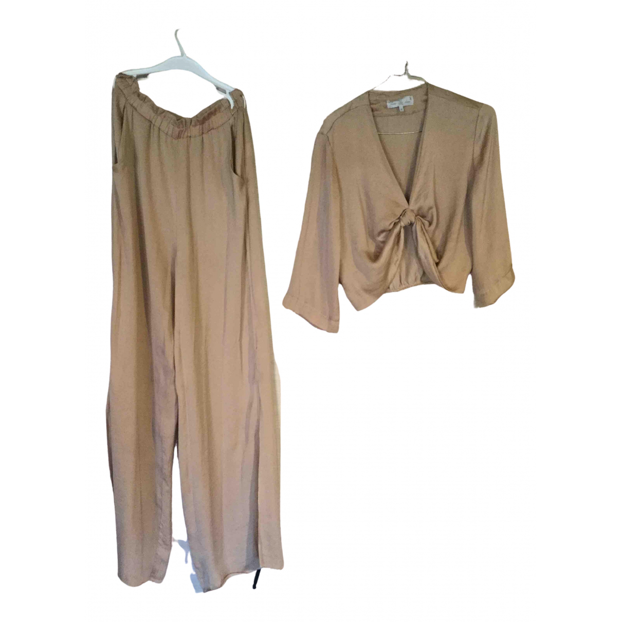 Non Signé / Unsigned Hippie Chic Beige Silk jumpsuit for Women S International
