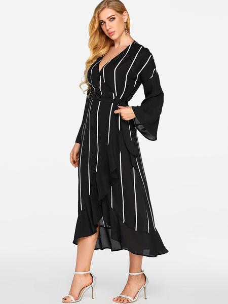 Yoins Black Wrap Design Stripe V-neck Long Sleeves Maxi Dress