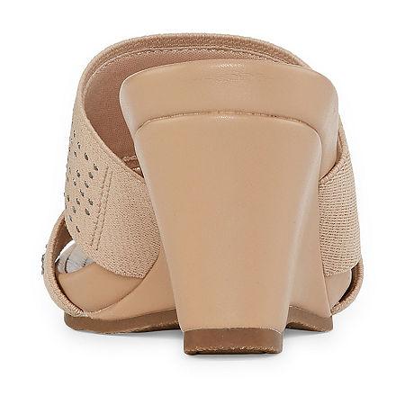 east 5th Womens Vane Wedge Sandals, 11 Medium, Beige