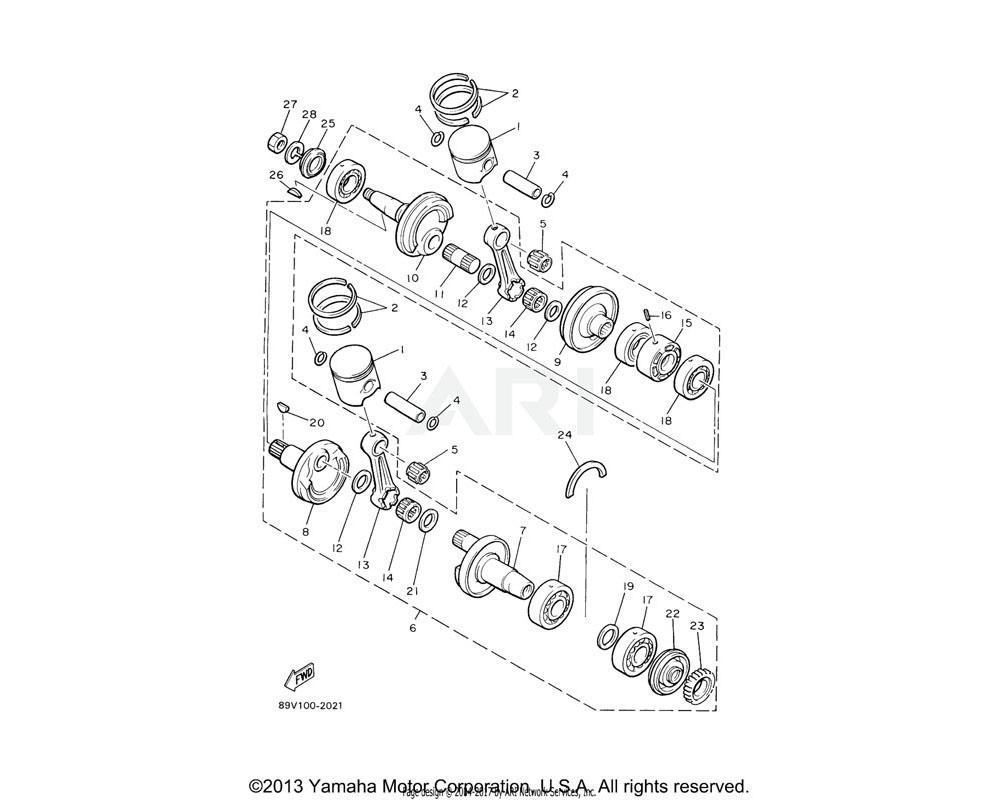 Yamaha OEM 8V0-11636-00-00 PISTON 2 O/S 0.50 (0.50MM O/S) | AP