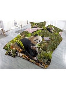 Panda and Green Leaves Wear-resistant Breathable High Quality 60s Cotton 4-Piece 3D Bedding Sets
