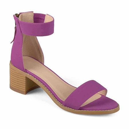 Journee Collection Womens Percy Heeled Sandals, 8 1/2 Medium, Purple