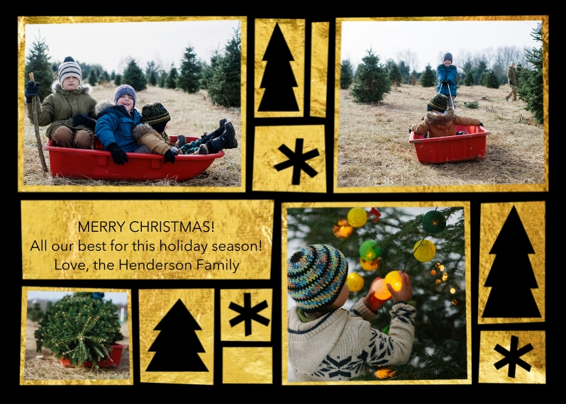 Christmas Photo Cards 5x7 Cards, Premium Cardstock 120lb, Card & Stationery -Fun Holidays Gold Foil