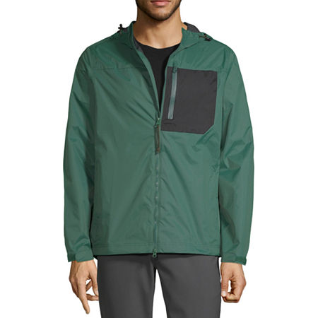 Xersion Mens Outdoor Hooded Lightweight Raincoat, X-large , Green