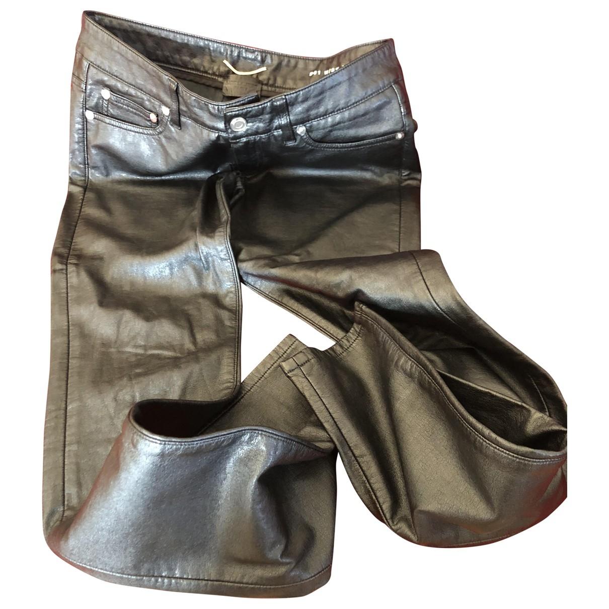 Saint Laurent \N Black Leather Trousers for Men 44 IT