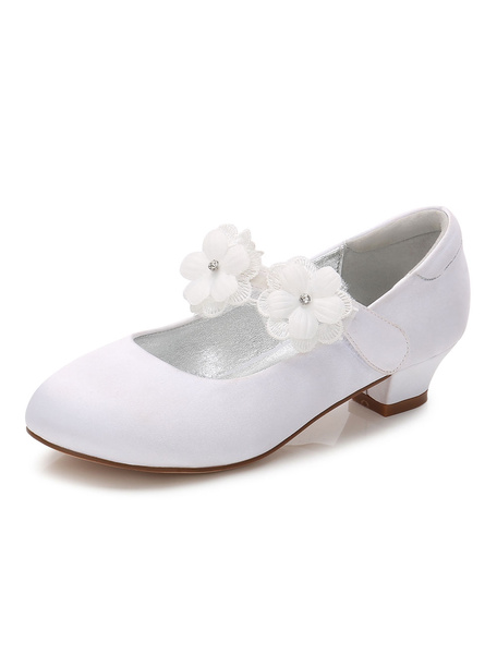 Milanoo Ivory Flower Girls Shoes Round Toe Chunky Heel Flowers Pumps