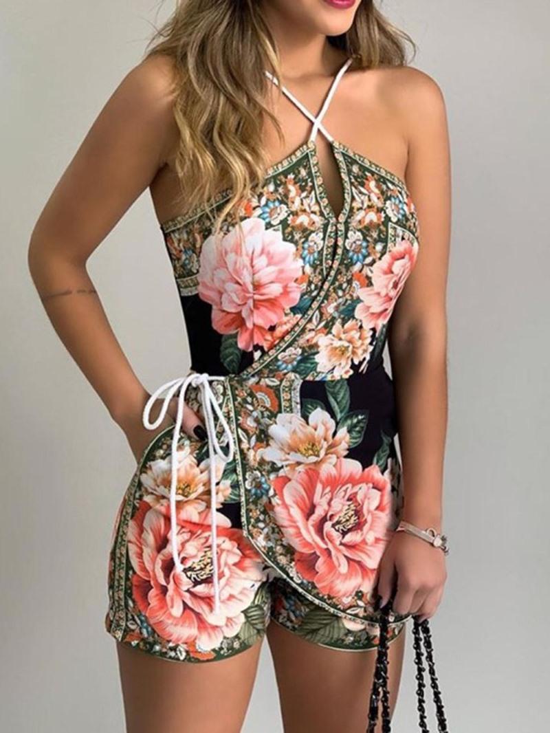 Ericdress Print Shorts Floral Slim Jumpsuit