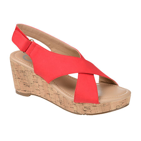 Journee Collection Womens Jenice Wedge Sandals, 9 Medium, Red