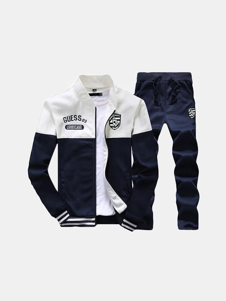 Mens Sport Suits Patchwork Embroidery Baseball Sweatshirt Elastic Waist Joggers Sport Pants