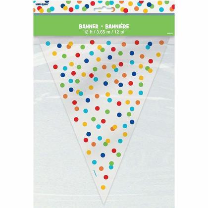 Bannière en plastique de fanion de partie de confettis à pois arc-en-ciel en plastique, 12ft Pour la fête d'anniversaire