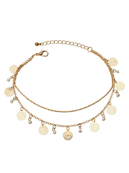 Milanoo Boho Ankle Bracelet Blond Beaded Tiered Jewelry For Women