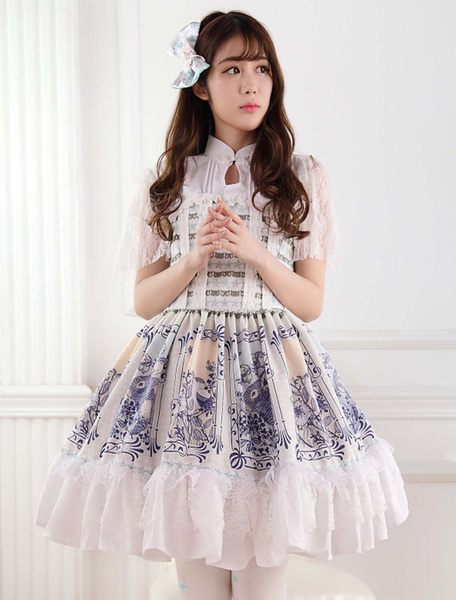 Milanoo Deep Apricot Lace Polyester Lolita Dress