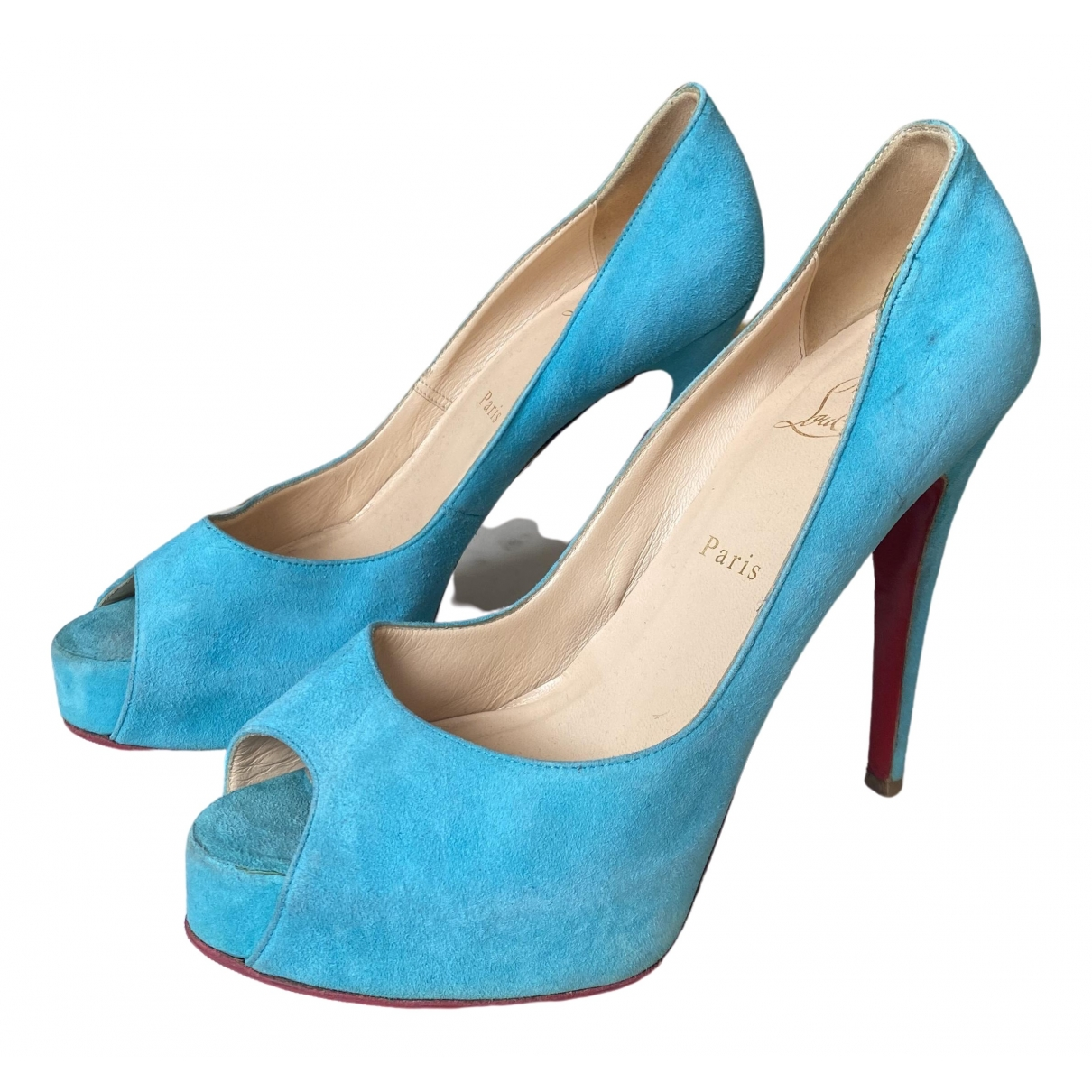 Christian Louboutin Lady Peep Turquoise Suede Heels for Women 39.5 EU