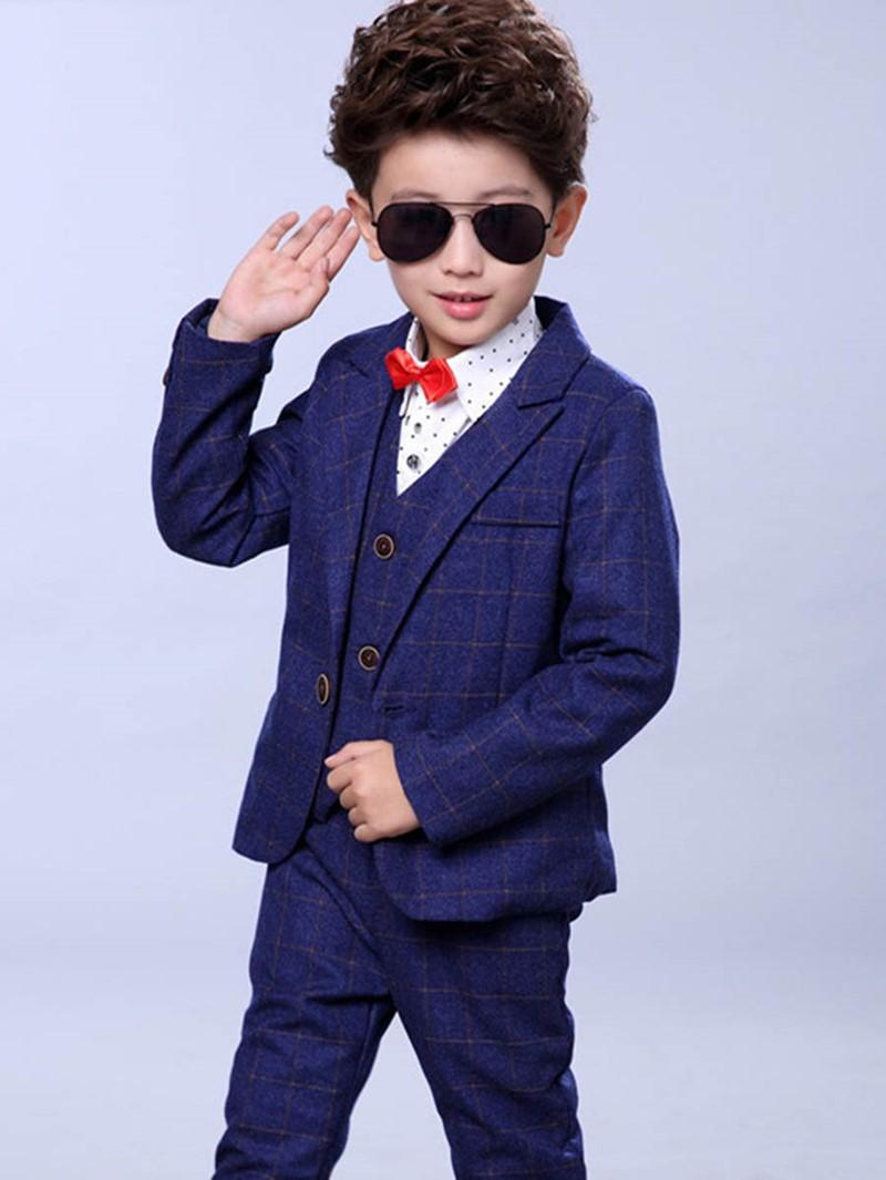 Ericdress Plaid One Button Blazer Vest Pants Boy's Suit