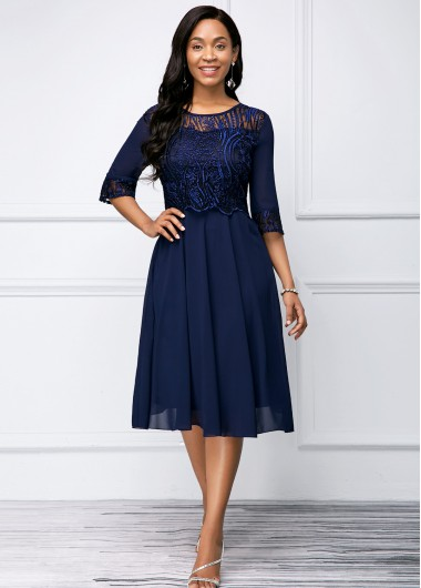Wedding Guest Dress Navy Blue Lace Panel Round Neck Dress - 12